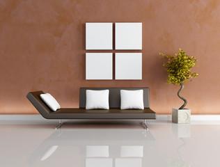 modern brown living-room -rendering