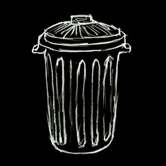 illustration poubelle négatif