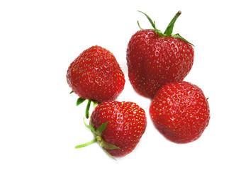 Four strawberry on a white