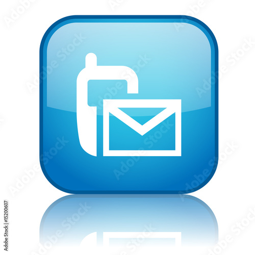 Square Text Message Symbol Button Blue Stock Photo And Royalty