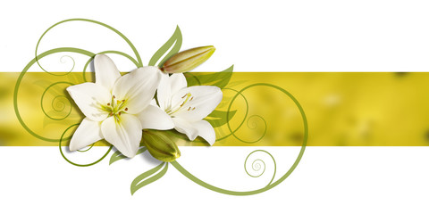 decoration of lillies on  banner