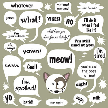 Various phrases in comic balloons 1