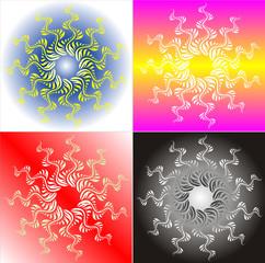 Ornate Sun Floral - four variants