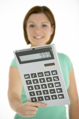 Woman Holding Calculator