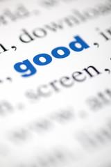 mot good bon lettres bleu texte flou