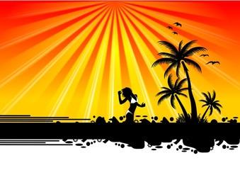 Frau und Palmen auf Südsee Insel