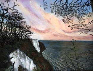 Königsstuhl Abend - Echte Malerei - Ideal für Kunstdruck