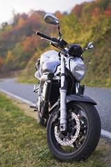 moto roaster sur bord de route virage de montagne en nature