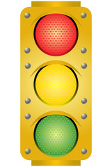 Yellow traffic light. Vector illustration.