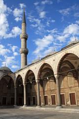 Minaret of Sultanahmet Mosque in Istanbul, Turkey