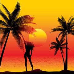 Female on tropical beach