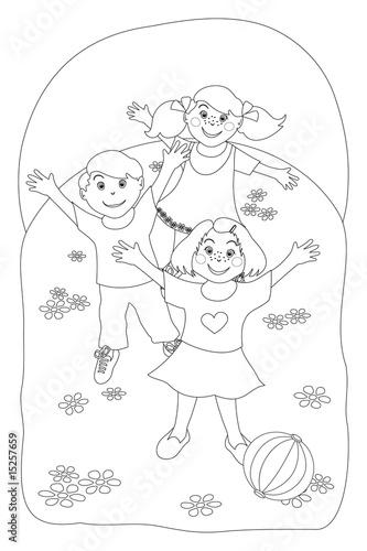 Bambini che giocano immagine in bianco e nero da for Disegno bambina da colorare