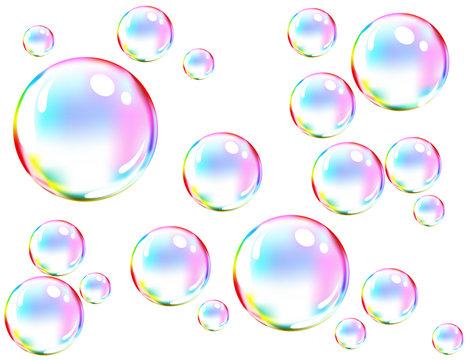 Vector of colored soap bubbles