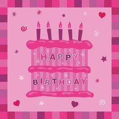 pink cake birthday card