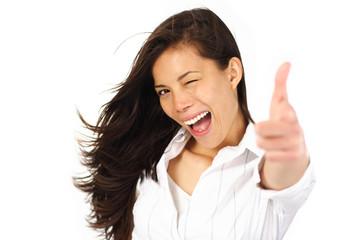 Leinwandbilder - Excited woman blinking