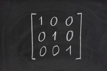 identity or unit matrix on blackboard