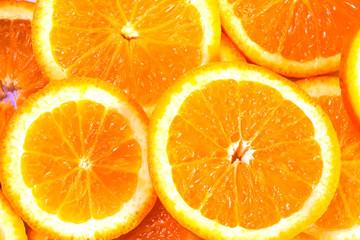 Sliced oranges background