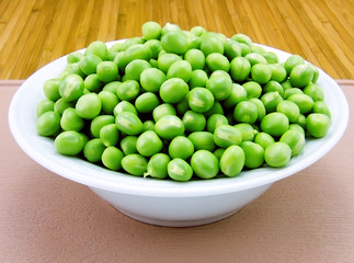 Plate of fresh green peas close-up