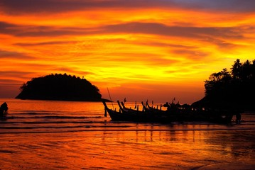 Fond de hotte en verre imprimé Rouge Wunderschoener Sonnenuntergang
