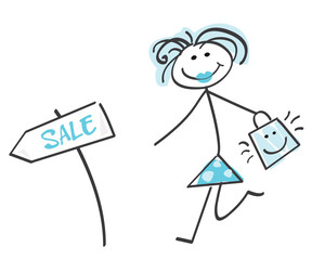 Sale girl blue - loving shopping! Doodle vector character.