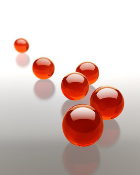 Red glass spheres