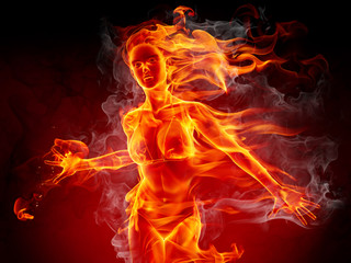 Poster Flamme Hot girl