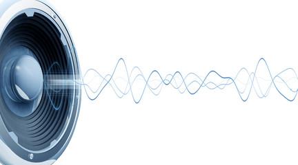 Onde audio fond blanc