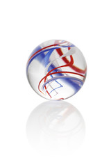 Isolated red, white and blue glass marbel