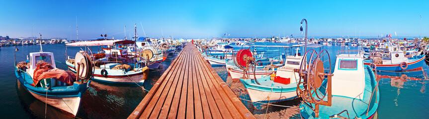 Foto auf Acrylglas Zypern harbor with fishing boats