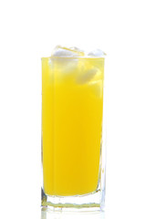 glass of cold orange juice with ices