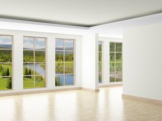 Empty room. Landscape behind window. 3D image