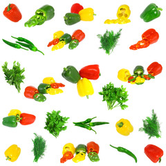 Collage-sweet coloured peppers with dill and parsley,Isolated