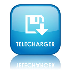 "Bouton carré ""TELECHARGER"" avec reflet (bleu)"