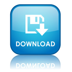"Square ""DOWNLOAD"" button with reflection (blue)"