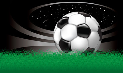 vector background with soccer ball on grass stadium in the night