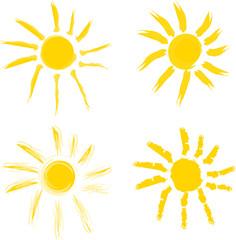 Sonne  gemalt mit Pinsel als Vektor in gelb