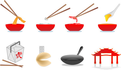 chinese food vector icons