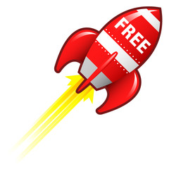 Free e-commerce icon on red retro rocket ship illustration