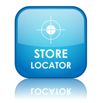 "Square ""STORE LOCATOR"" button with reflection (blue)"