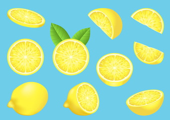 Vector image with isolated lemons