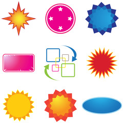 Set of nine different colorful sale stickers