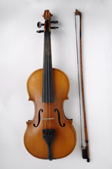 violin lying on a white background