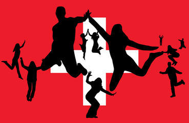 Flag of switzerland and people jumping