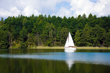 Lake scenery and white sailing boat