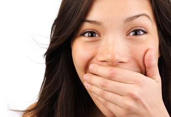 Leinwandbilder - Surprised woman closeup