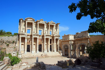 Poster Turquie Facade of ancient Celsius Library in Ephesus