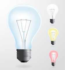 lamp bulb colored vector set
