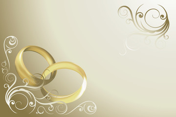 wedding card with rings and swirles vector
