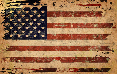 Grunge style illustration of the flag of USA