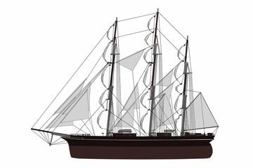 Segelschiff - Seitenansicht